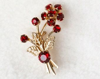 Flower Bouquet Garnet Rhinestone and Gold Pin - Vintage 1950s