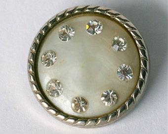 Lucite Rhinestone Button - 1 Inch  Pearly White