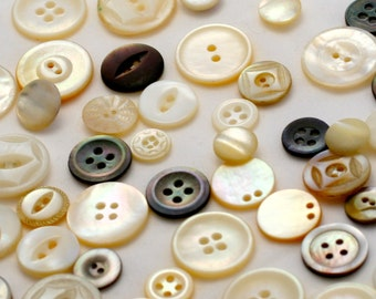 Mixed Lot of Mother of Pearl Buttons - 54 Pieces