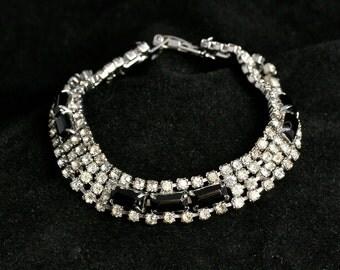 Vintage Rhinestone Crystal Bracelet 1960s - Black and White