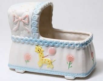 Vintage Ceramic Baby Bassinet Planter - Pink and Blue Pottery
