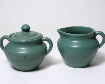 Cream and Sugar Set - Vintage Zanesville Pottery - Matte Green