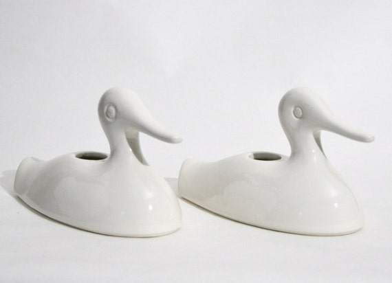 DUCK Candle Holders WHITE by McCoy