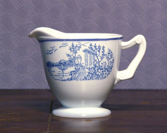 White Milk Glass Creamer - Lake Como by Hocking - Blue Decal