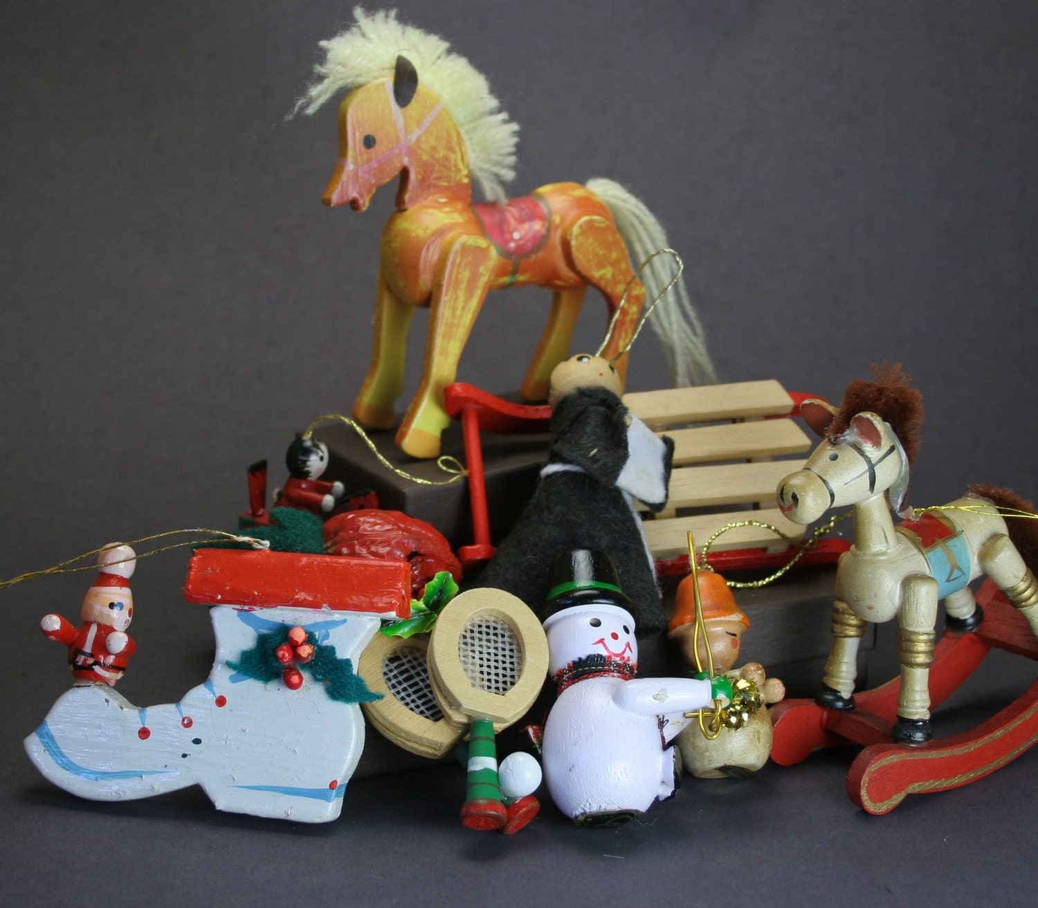 Retro Christmas Toy : Vintage wooden toy christmas ornaments