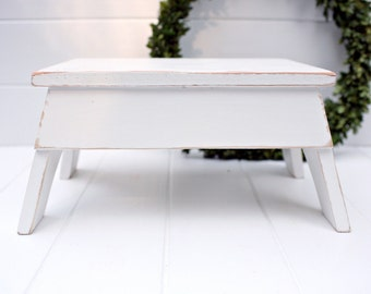 Vintage Style Step Stool No. 2 in White Handmade by Circle Creek Home
