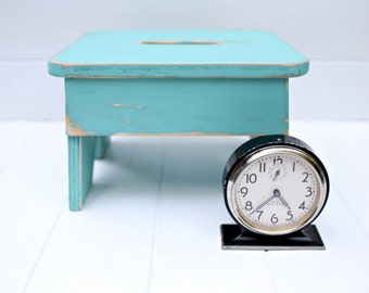 Vintage Style Step Stool No. 3 in Aqua Handmade by Circle Creek Home
