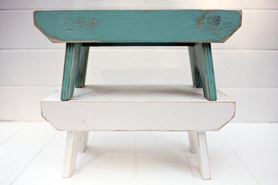 Vintage Style Step Stool No. 1 in Aqua Handmade by Circle Creek Home