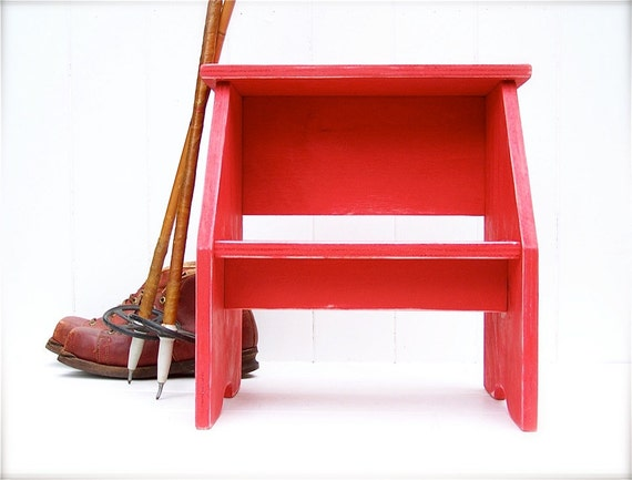 Vintage Style Two Step Stool in Red Handmade by Circle Creek Home