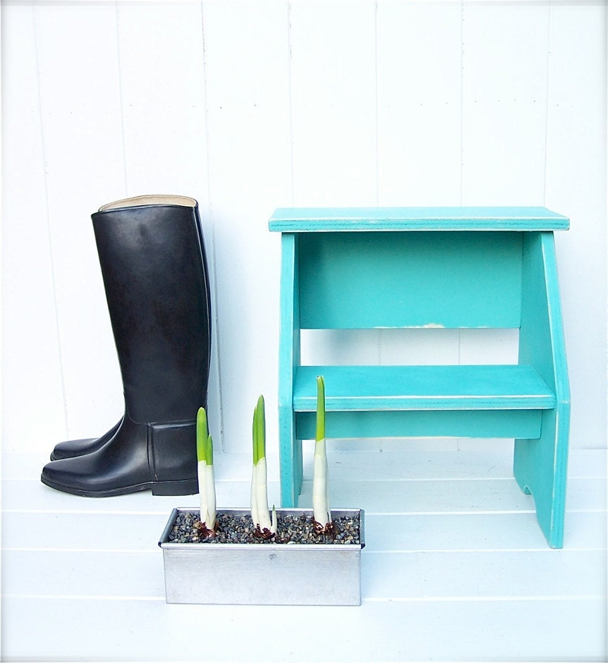 Vintage Style Two Step Stool In Aqua Handmade By