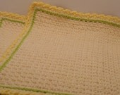Tea For Two Cream Place Mat Set with Lime Green and yellow  Trim