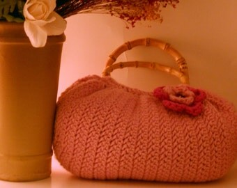 Pink Crochet Fat Bottom Bag With Round Wooden Handles