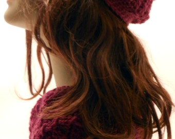 Purple Crocheted Cowl Collar and Cloche set Winter Accessories Gift for Women