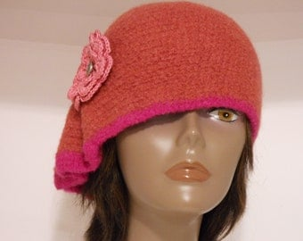 Womens Felted Cloche Hat Collection-OOAK 1920s style  Pink Flambe Cloche With Side pleats Crocheted Flower Silver Buttons