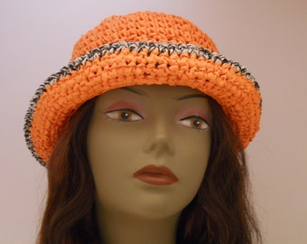 Womens Spring Summer Hats  Collection OOAK Orange Cloche Sun Hat With Black and White Trim
