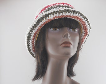 Womens Spring Summer Hats  Collection OOAK Striped Cloche With Open Crown
