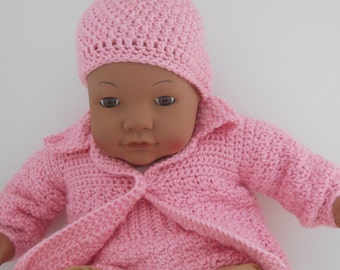 It's A Girl  Baby Shower Gift , Pretty Pink Sweater , Hat and Diaper Cover For Newborn to 3 months