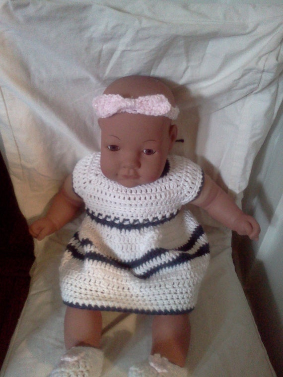 It's A Girl Baby Shower Gift , Cotton Nautical Stripes Dress