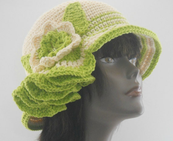 Mint Julep  Couture Cloche Cream and Lime Green Cotton Summer Wedding Chapeau