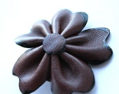 Brown Leather Cherry Blossom Flower Brooch Pin