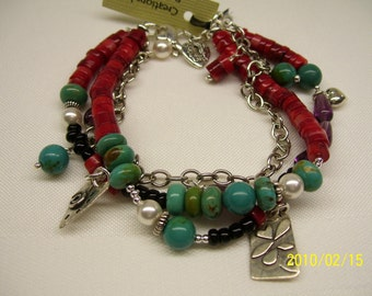 Coral and Turquoise Charm Bracelet