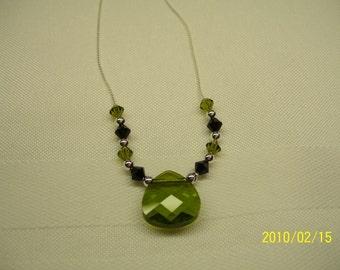 Green and Black Swarovski Necklace