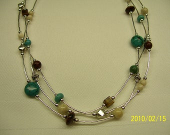 Brown, cream and turquoise necklace