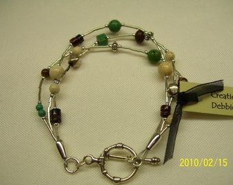 Brown, cream and turquoise bracelet