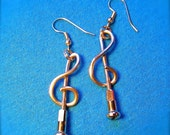Treble Clef Bicycle Spoke Earrings