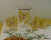 Vintage 1950s-60s Collectible Glass Pine Cone Pitcher Set With Six Glasses