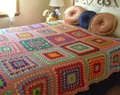 Awesome Vintage 1960 Crochet Colorful Granny Squares Patchwork Bedspread Blanket/RESERVED MARIA