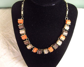 Awesome 50s Vintage Earthy Fall Colors Choker Necklace