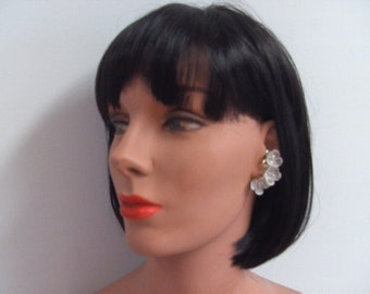 Vintage 1940s-50s Glam White Floral Earrings
