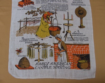 Vintage 1960s Linen Kitchen Towel