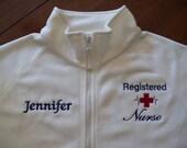 Registered Nurse White Fleece Jacket-Free Personalization