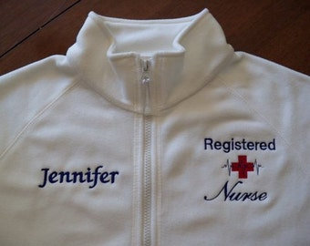 Registered Nurse White Fleece Jacket-Free Personalization