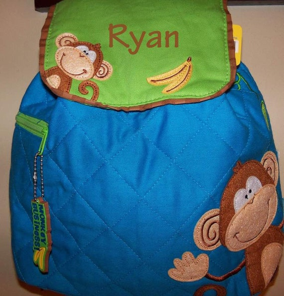 Boys Quilted Stephen Joseph Monkey Backpack-Free Embroidery