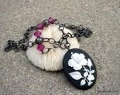 SALE - Handmade necklace, cameo, hibiscus, black