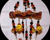 Bohemian Wind Chime -  Amber and Black Suncatcher