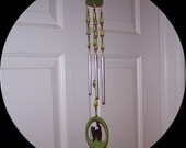 Green Cat Wind Chime
