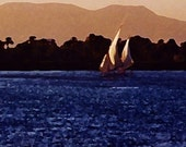 Felucca On The Nile 8x10 Photo Print Watercolor Effect with FREE SHIPPING in USA