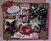 Kitten Christmas Vintage Postcard Collage