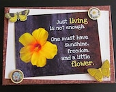Yellow Hibiscus Butterfly quote, mixed media collage