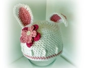 Easter Some Bunny is cute beanie hat with flowers Newborn to Toddler size Crochet Photography Pro