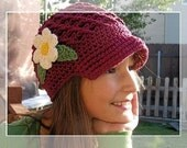 PDF Crochet Pattern Beanie with Visor or Brim and detachable flower SIZES 5T to Adult - No. 4