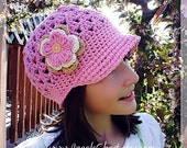 Adorable Beanie with Brim Hat Cap with detachable triple flowers Size Newborn to adult Great Photography Prop