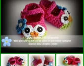 PDF Crochet Pattern No. 23 Owl Mary Janes Slippers Sizes Newborn to Child by AngelsChest