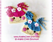 CROCHET PATTERN No. 38 - Lala Loopsy Hat  - (0/3 months, 3/6 months, 6/12 months, 12/24 months ,Toddler, Child, Adult sizes)