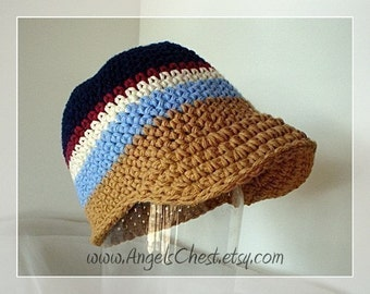 PDF Pattern Cute Beanie Brim Visor Crochet Hat for Boy or Girl Newborn to Adult size No. 5