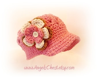 PDF Pattern Cute Beanie with Brim hat with detachable flowers Sizes Newborn to 4 Years No. 2